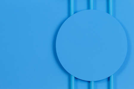 Abstract pastel blue color background. Minimal geometric shapes and lines, top view
