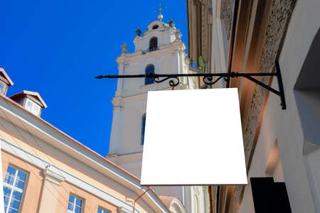 Mock up. Rectangular shape signboard on the wall of classical architecture building