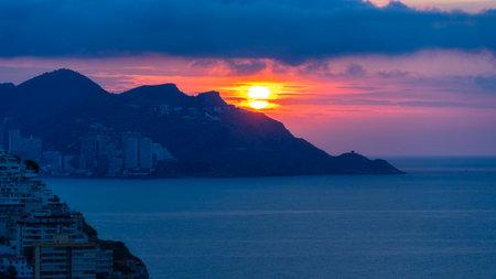 Sunrise in Benidorm, Costa Blanca, Spain Stock Photo