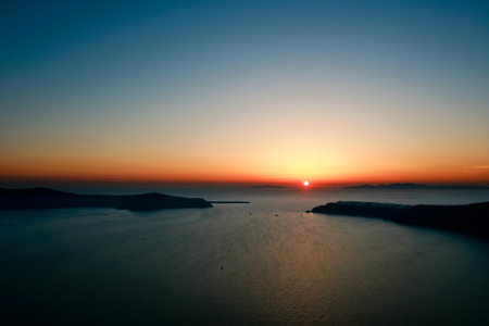 greek islands: Santorini Sunset, Greek Islands, Aegean Sea Stock Photo