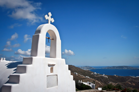 Mykonos Greek Island - Greece. White Wash Chapel Stock Photo