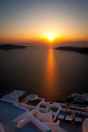 greek islands: Gorgeous sunset from Santorini, Greek Islands, Aegean Sea