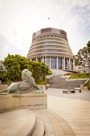 WELLINGTON, NEW ZEALAND - DECEMBER 27, 2016: The Beehive New Zealand Government Parliament Building site proud overlooking the city. Editorial