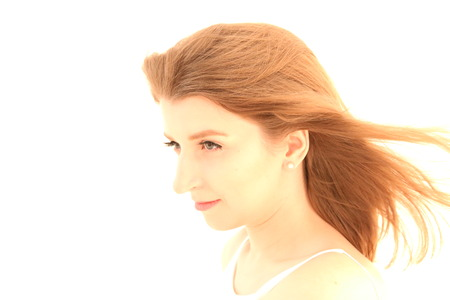 Portrait of caucasian girl with brown hair posing isolated on white background Banque d'images