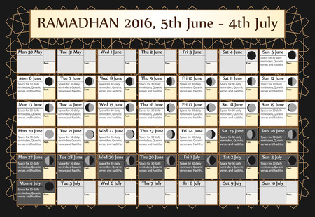 fasting: Ramadan calendar 2016. Includes: fasting calendar, moon cycle-phases, Ramadan quotes -hadith and Quran-. 30 days of Ramadan on black background with Islamic pattern. 1of3. 5 June. Vector illustration