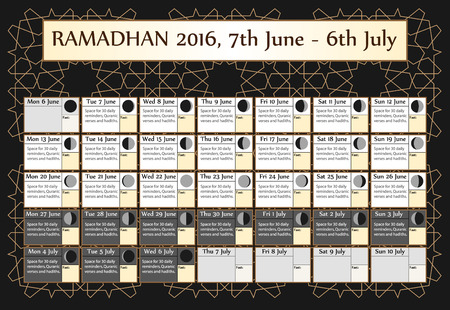 background calendar: Ramadan calendar 2016. Includes: fasting calendar, moon cycle-phases, Ramadan quotes -hadith and Quran-. 30 days of Ramadan on black background with Islamic pattern. 3of3. 7 June. Vector illustration