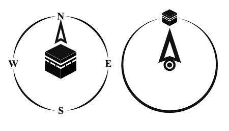 muslim prayer: Qibla, muslim prayer direction. Kaaba direction. Mecca. Saudi Arabia. Qibla, Islamic term used for the direction for offering a prayer, which is Kaaba in Mecca. Vector isolated illustration.