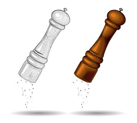 włoski drewniany młynek do pieprzu, sól szlifierka, przyprawy szlifierka, peppermill. Narzędzie przyprawy. Sprzęt kuchenny. Vector illustration Ilustracje wektorowe