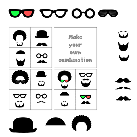 male grooming: Facial hair and accessories. Mustache, beard, glasses, hat, hair. Combine items to create a desired look. Vector isolated illustration.