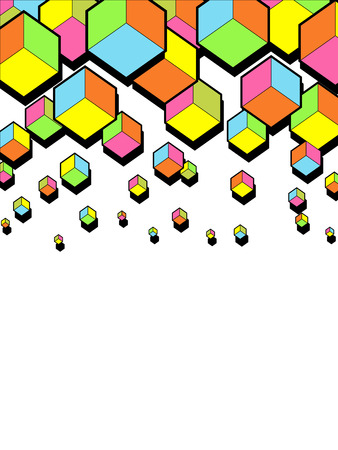 falling cubes: abstract falling 3d cubes. Graphic geometric background. Colorful cubes. Funny bright colors. Hexagonal shapes. Vector illustration background