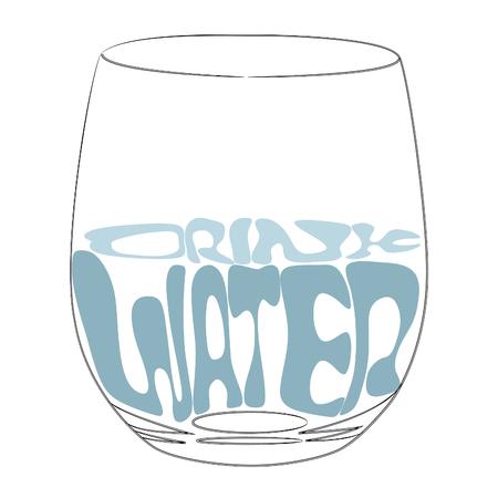 Uno stile di vita sano. Logo grafico del bicchiere d'acqua. tipografia. Illustrazione isolata Bere acqua. Illustrazione isolato, vettoriale.