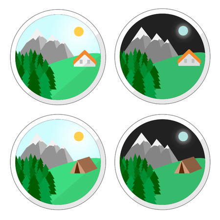 mountain holidays: Vector. Mountain holidays icons. Holiday house. Summer house. Snow mountain camping. Isolated illustration flat design. Perfect mountain holiday. Illustration