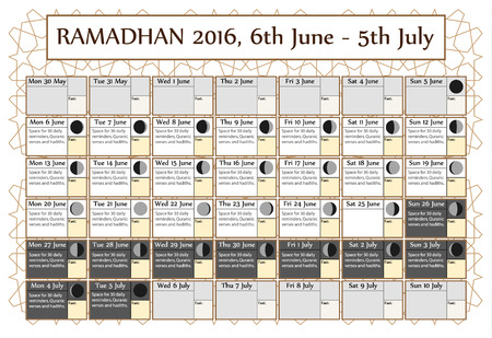 6th: Ramadan calendar 2016, 6th June. Choice: 2nd of 3. Includes: fasting tick calendar, moon cycle-phases-, Ramadan quotes. 30 days of Ramadan on white background with Islamic pattern. Vector illustration