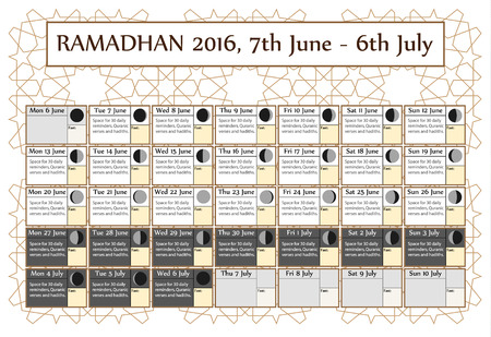 Ramadan calendar 2016, 7th June. Choice: 3rd of 3. Includes: fasting tick calendar, moon cycle-phases-, Ramadan quotes. 30 days of Ramadan on white background with Islamic pattern. Vector illustration