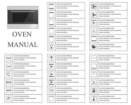 Backofen manuelle Symbole. Anleitung. Zeichen und Symbole für Ofen Ausbeutung Handbuch. Anleitungen und Funktionsbeschreibung. Vector isolierte Darstellung.