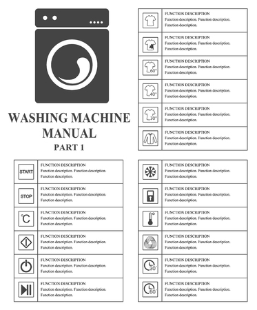 manual: Oven manual symbols. Part 1 Instructions. Signs and symbols for washing machine exploitation manual. Instructions and function description. Vector isolated illustration.