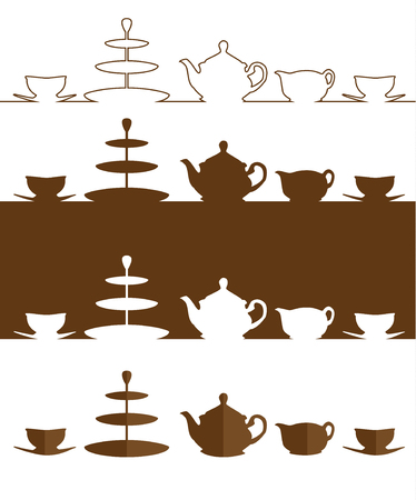 cake tier: Vector. Tea set. A silhouette of a tea pot, milk jug, cups, saucers and 3 tier cake stand. Isolated illustration Illustration