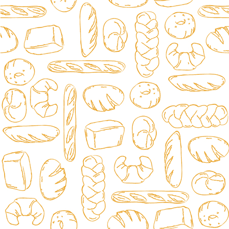 french boule: Vector. Bake, Bread mix seamless background. Good for packaging, wrapping paper or other accessories for bakery. White and beige pattern.