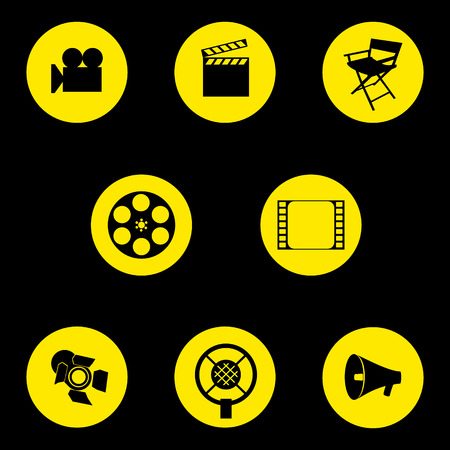 director's chair: Vector. A set of cinematographic icons. Movie makers accessories. Graphic isolated illustration. Directors chair, camera, cut, tape, speaker, microphone, projector. Illustration