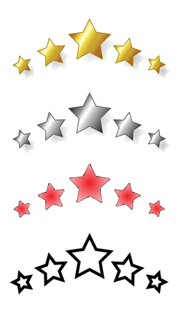 valuation: Set of five stars. range of award stars for services, i.e. hotel, spa resorts... Vector isolated illustration of five stars: golden, silver, red, black. Illustration