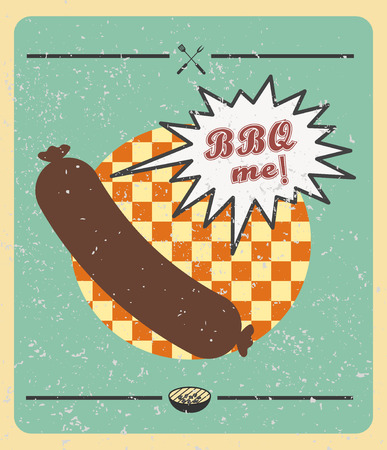 outdoor goods: Vector. Grill sausage: BBQ me. Summer BBQ. BBQ season. BBQ poster. Summer getaway. Picnic outdoor. Family BBQ day. BBQ related goods adv. Grill meat. Illustration. Barbecue retro poster Illustration