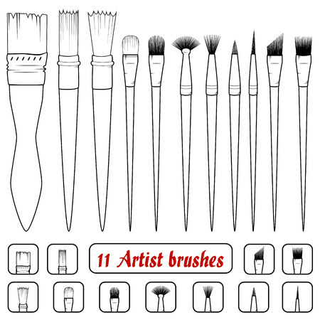 rigger: vector. Set of 11 art brushes. Icons of filbert brush, linear brush, angular brush, dotting brush, texture brush, bristle brush,mop brush,tuft brush,pointed brush,rigger brush, fan brush,coating brush Illustration