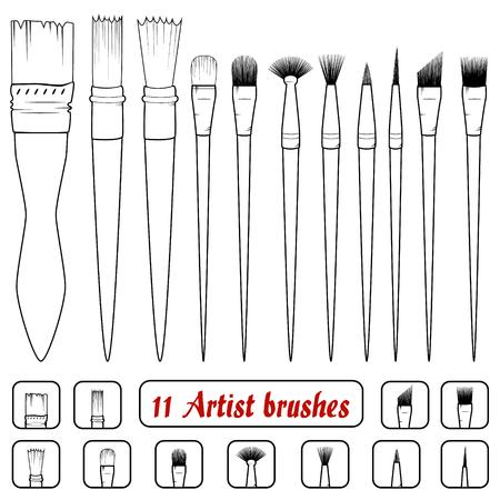 vector. Set of 11 art brushes. Icons of filbert brush, linear brush, angular brush, dotting brush, texture brush, bristle brush,mop brush,tuft brush,pointed brush,rigger brush, fan brush,coating brush