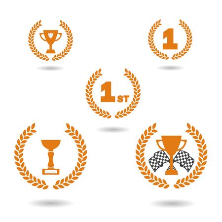 primer lugar: Vector. iconos gráficos de adjudicación. Tazas para las banderas primer lugar, la taza de carreras y las carreras. ilustración