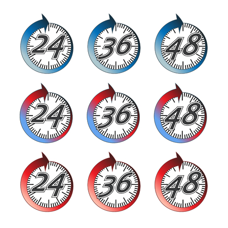 36: Vector. Time duration. Signs showing how long any product effect or service lasts. Choice of 24 hours, 36 hours or 48 hours. Isolated illustration