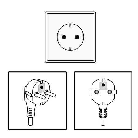 mains: Vector. Euro socket and plug. Icon. Two pin socket isolated illustration.