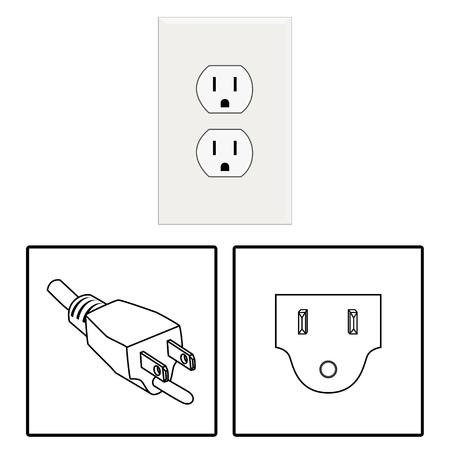 power supply unit: Vector. US socket and plug. Icon. Three pin socket isolated illustration. Illustration
