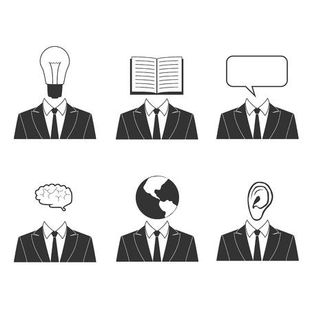 listening ear: Vector. Knowledge,education abstract icons. Bulb head, idea head, book head, reading head, speech cloud head, speaking head, brain head, thinking head, world head, travel head, ear head,listening head