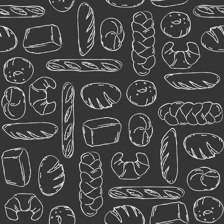 french boule: Vector. Bake, Bread mix seamless background. Good for packaging, wrapping paper or other accessories for bakery. Black and white pattern. Illustration