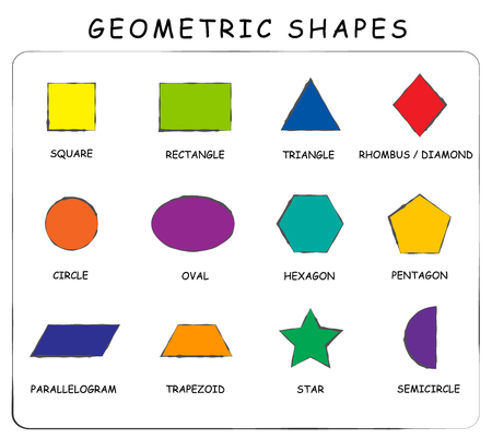 centers: Vector. A set of geometric shapes. Suitable for educational posters for schools, books, home, educational centers or other. Square, rectangle, circle, oval, diamond, hexagon, triangle, star, trapez...
