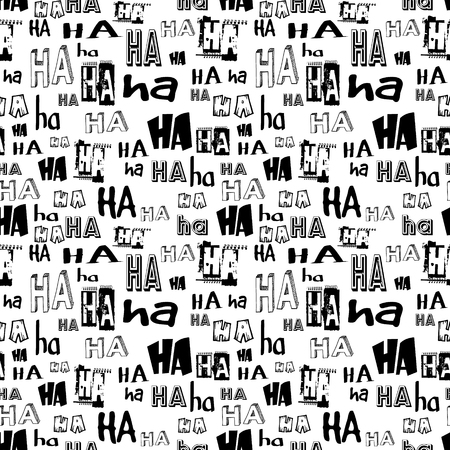 ha: Vector. HA HA seamless pattern. Funny background suitable for paper or textile print, card or web background. No background color, black letters Illustration