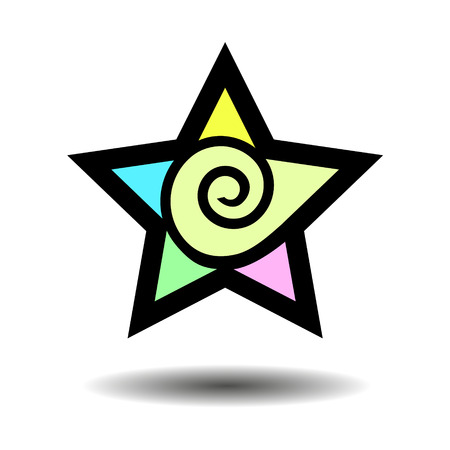 five star: Abstract five point star. Geometric shape. Colorful star. Symbol. Star sign with a swirl. Isolated illustration of a star. Vector. design element. Illustration