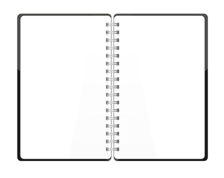 Vector. Stationery. An open pocket book, diary, notebook, scrapbook, textbook, notepad, organizer, sketch book, journal, drawing pad. Isolated illustration. White blank pages