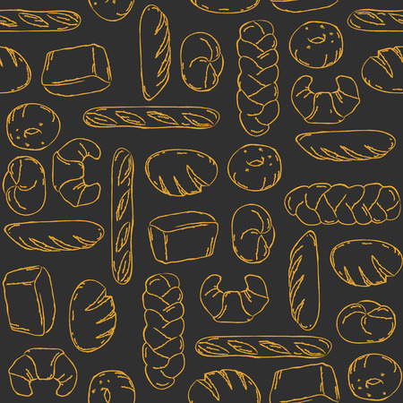 Vector. Bake, Bread mix seamless background. Good for packaging, wrapping paper or other accessories for bakery. Black and beige pattern. Illustration