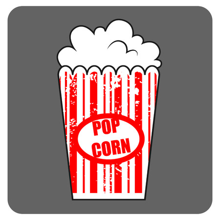 mais: Graphic pop corn. Large box of cinema pop corn. American food. Fast food, junk food. Vector isolated illustration of pop corn.
