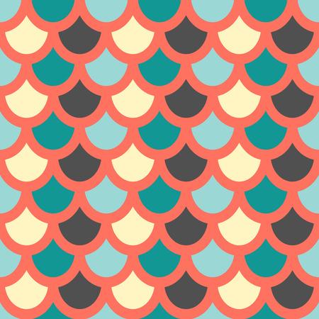Vector. estilo de piel de pescado patrón transparente .. escalas de pescados patrón. fondo rojo Ilustración de vector