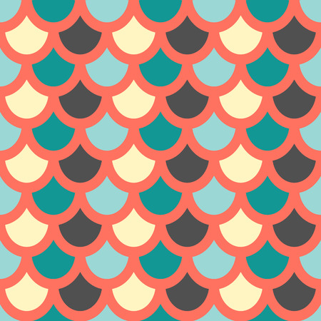 Vector. Fish skin style seamless pattern.. Fish scales pattern. Red background Vector Illustration