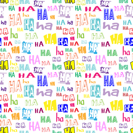 ha: Vector. HA HA seamless pattern. Funny background suitable for paper or textile print, card or web background. No background color. Colorful letters Illustration