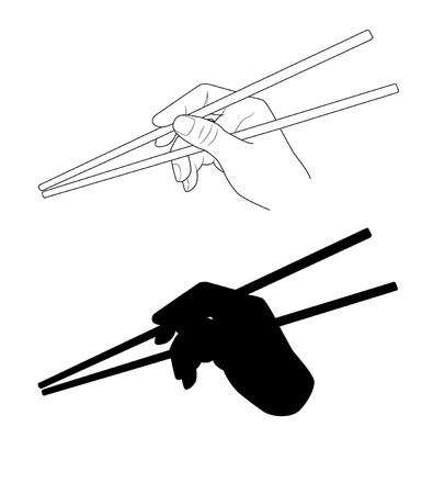 oriental cuisine: Vector. A hand holding chopsticks. Oriental cuisine. Isolated illustration of japanese, korean, chinese chopsticks for noodles, sushi, rice and other eastern food. Chopsticks silhouette.