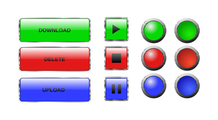 green plus: Vector. Isolated buttons. Glass buttons. Web button icons for internet: play button, stop button, pause button, download bar, upload bar, delete bar, round buttons. Red,blue,green. Plus pushed buttons