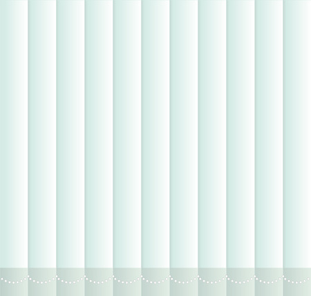 window shade: Window shutters. Office interior blinds. Window decor. Vertical window blind with chain. Vector illustration. Blue window blinds.