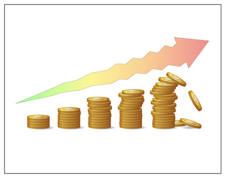 Golden coins increasing pillars and an arrow showing financial growths risks and instability. Fund, profit, money or capital raising crush. Financial risks and crisis. Vector isolated illustration. Illustration