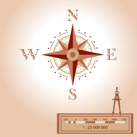 Wind rose illustration. Isolated vector. Element of an antient or old style map decoration. Wind rose is a tool to guide travellers and read maps. Shows North, South, East, West, measurment