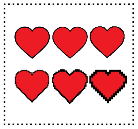 big size: Pixel art hearts. Different pixel size: big pixel heart, small pixel heart. Motion graphics element. Editable pixel hearts. Gaming design. Isolated illustration of hearts from pixel to stroke. Vector.