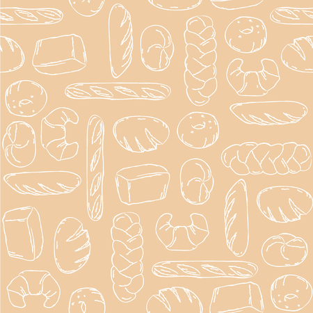 french boule: Vector. Bake, Bread mix seamless background. Good for packaging, wrapping paper or other accessories for bakery. Beige and white pattern. Illustration