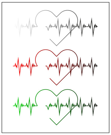 cardiograph: Graphic illustration of cardiogram or cardiograph. Electrocardiogram in black and white, red and green. Heart rate. EKG or ECG test. Heartbeat graph. Vector. Isolated.